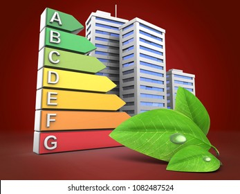 3d illustration of energy ranking over red background with city and green leaf