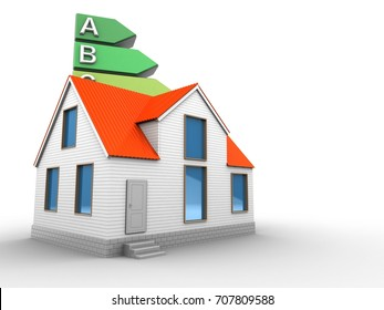 3d illustration of energy rating over white background with house