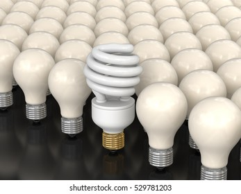 3D Illustration. Energy Saving Light Bulb and incandescent lamps. Image with clipping path