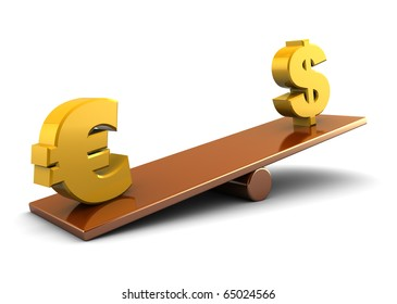 3d illustration of euro and dollar on scale board, over white background