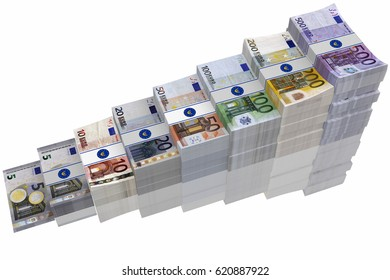 3D illustration. Euro. growing piles of banknotes on white background.