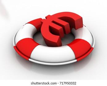 3d illustration Euro Sign in Lifebuoy