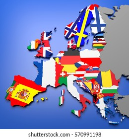 3D illustration of european countries map