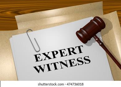 "3D illustration of ""EXPERT WITNESS"" title on legal document"