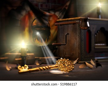3D illustration of fairytale of Golden key