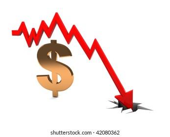 3d illustration of falling diagram and golden dollar sign