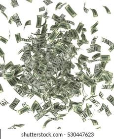 3d illustration of falling dollars bills isolated