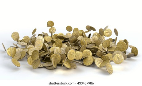 3D illustration of Falling Russian Ruble Coins on white background