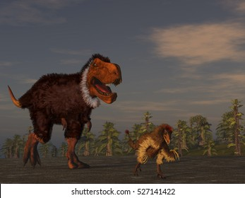 3d illustration of feathered dinosaurs