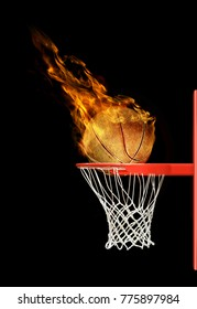 3D illustration of fiery basketball ball flying to hoop on black background
