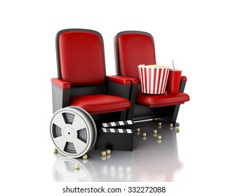 3d illustration. Film reel, popcorn and Cinema clapper board on theater seat. cinematography concept.