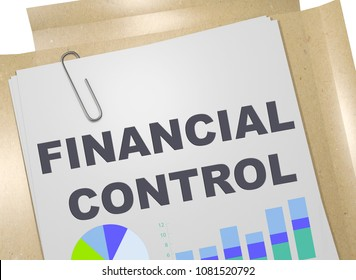 3D illustration of FINANCIAL CONTROL title on business document