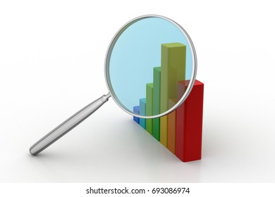 3d illustration of Financial graph with magnifier