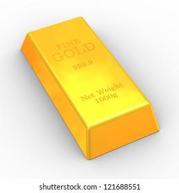 3d illustration of fine gold bar on white background