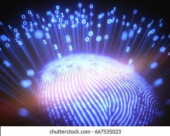 3D illustration. Fingerprint emitting binary codes.