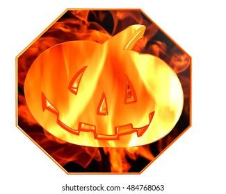3d illustration. Fire pumpkin on a white background