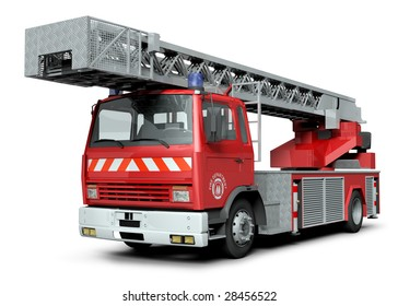 3d illustration of a fire truck