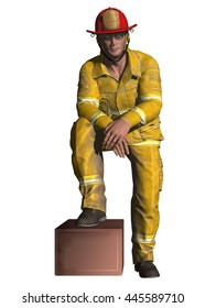 3D illustration of a fireman resting his foot on a box during a well earned break.