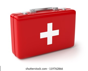 3d illustration of first aid kit. Isolated on white background