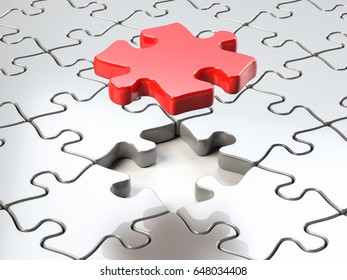 3d illustration of a fitting puzzle piece