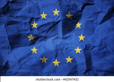 3D illustration of the flag of the European Union on creased paper - European Crisis
