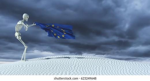 3d illustration of the flag of european union