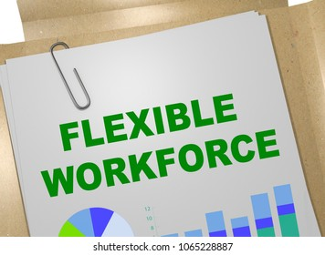 3D illustration of FLEXIBLE WORKFORCE title on business document