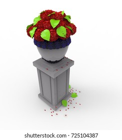 3d illustration of flowers on pedestal. white background isolated. icon for game web.