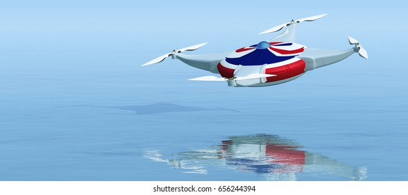 3d illustration of a flying drone and  britain symbol