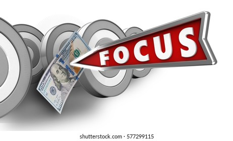 3d illustration of focus arrow with 100 dollars over white with targets background