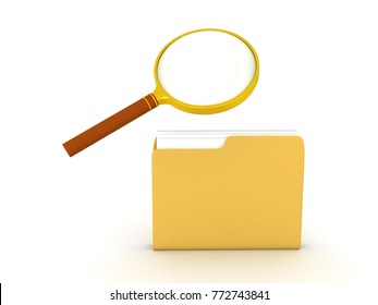 3D illustration of a folder being searched with a magnifying glass. Isolated on white.