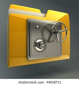 3d illustration of folder icon with security lock dial  High resolution 3D