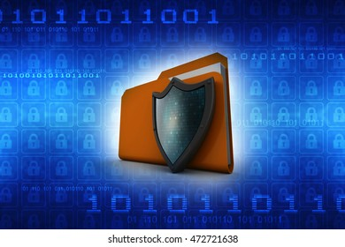 3d illustration of folder icon with shield