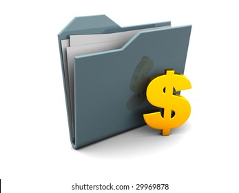 3d illustration of folder icon or symbol with dollar sign