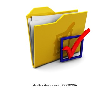 3d illustration of folder symbol and checkbox with red tick