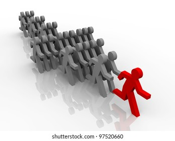 3d illustration of follow the leader in competition