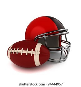3D Illustration of a Footbal and Football Helmet