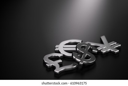 3D illustration of the four main currencies over black background with copy space on the top and left sides. Concept of forex trading