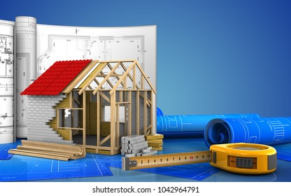 3d illustration of frame house with drawings over blue background