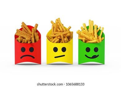 3D illustration - french fries traffic light
