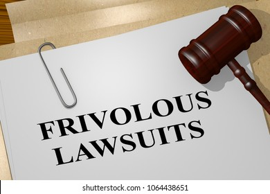 3D illustration of FRIVOLOUS LAWSUITS title on legal document