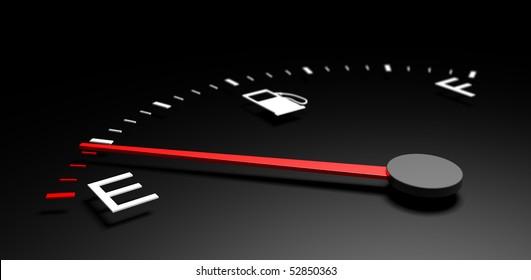 3d illustration of fuel meter over black background