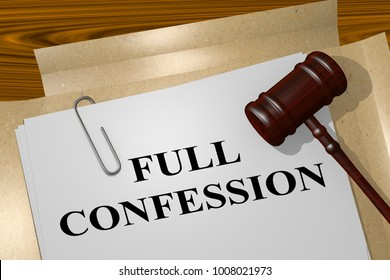 3D illustration of FULL CONFESSION title on legal document