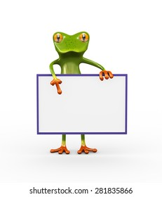 3d illustration of funny cute green frog holding blank empty white sign board banner