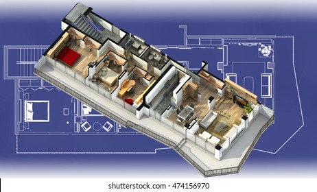 3D illustration of a furnished residential apartment, on a generic blueprint, showing the living room, dining room, foyer, bedrooms, bathrooms, closets, and balcony.