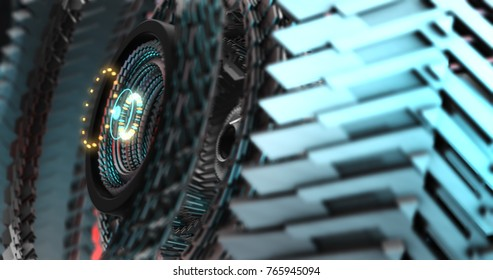 3D Illustration of Future technology, security concept background. Mechanical, Robotic gears, mecha core. Graphic Resource