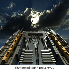 3D Illustration of a futuristic city skyscraper, from a dramatic angle, with a menacing, surrealistic sky above, for fantasy or science fiction architectural backgrounds.