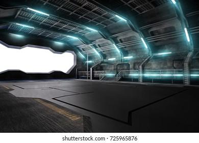 3d illustration of futuristic design spaceship interior. Render