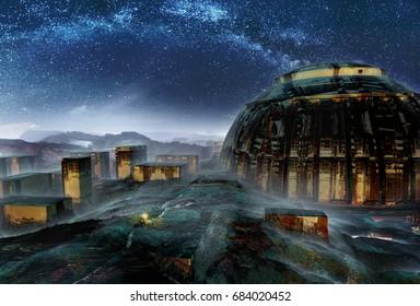 3d Illustration - Futuristic religion structure.