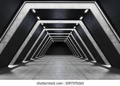 3D illustration of the futuristic tunnel